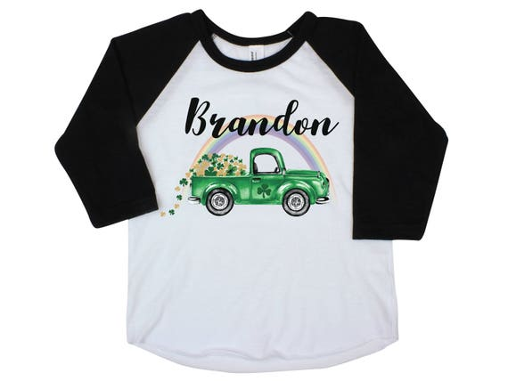 Boy St Patrick's Day Shirt Onesie Green Truck Raglan Shamrock Truck Shirt St. Patty's Day Boy Baby Shirt Shamrock Green Personalized