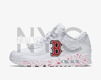 Boston Red Sox Nike Air Max 90 White Speckle Splatter Men Kids