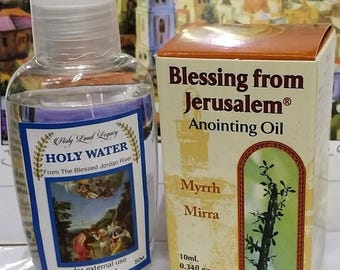Jerusalem pure anointing oil Myrrh Holyland gift 10ml,0.34oz and Holy water from Jordan river 50 ml,1.60oz