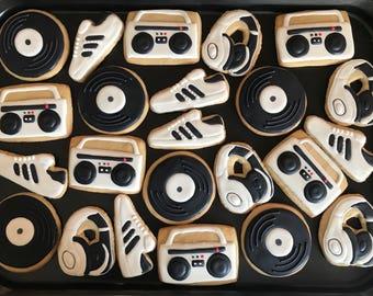 80's 90's HIP HOP inspired vanilla sugar cookies (12 -1 dozen) RETRO birthday party-disco-boom box-radio vinyl disc-old school party- headph