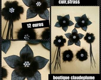 Set of 7 flowers of mink, leather, rhinestones