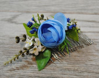 Blue Wedding Hair Comb - Blue Floral Comb - Blue Rose Bridal Comb - Blue Wedding Hair Flowers - Something Blue - Blue Floral Hair Piece