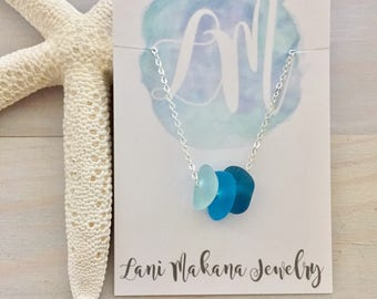 Ombre Sea Glass Necklace - Beach Glass Necklace - Blue Sea Glass Jewelry - Blue Bridesmaid Necklace - Simple Sea Glass Necklace