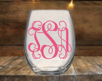 Monogram Stemless Wine Glass | Monogram Wine Glass | Personalized Stemless Wine Glass | Personalized Wine Glass