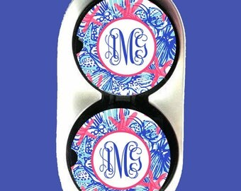 Personalized Car Coaster,Car Coaster Monogrammed Monogram Car Coaster,Lilly Pulitzer Inspired Her Gifts Party Gifts Cup Holder Coaster