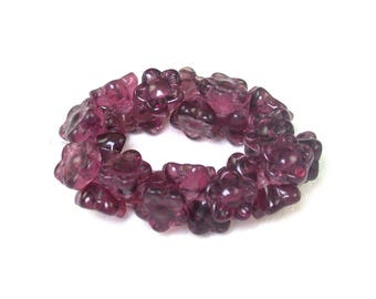 Purple Amethyst glass transparent 8mm button flower bead. Set of 25.