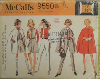 McCall's 9550.  1968 junior girls fashions.  Cape, pants, vests and culottes.  Cape pattern.  Vintage 1968 misses fashion.  Size 8.