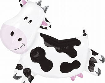 Cow Balloon, Huge 30 inch cow, 1 CT, Farm Birthday Decorations, Barnyard Bash, Cattle, Ranch, Farmer, Milk, Moo, Baby Shower