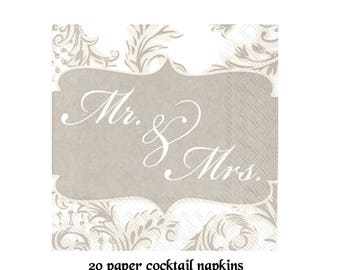 wedding cocktail napkins, Mr and Mrs, bar supplies, gray and white, elegant, swirls, beverage napkins, bridal shower decorations, engagement