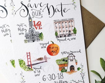 Illustrated Story Save the Date Wedding Invitations // Custom Illustrated Wedding Invites