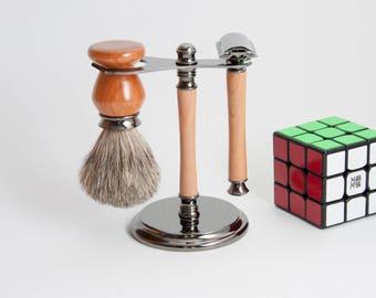 Handmade Shaving Set Gun Metal and Cherry, Safety Razor Kit, Safety Razor Set, Safety, Razor Stand,