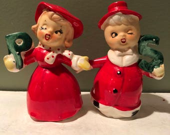 Vintage Christmas Ucagco Salt and Pepper Shakers