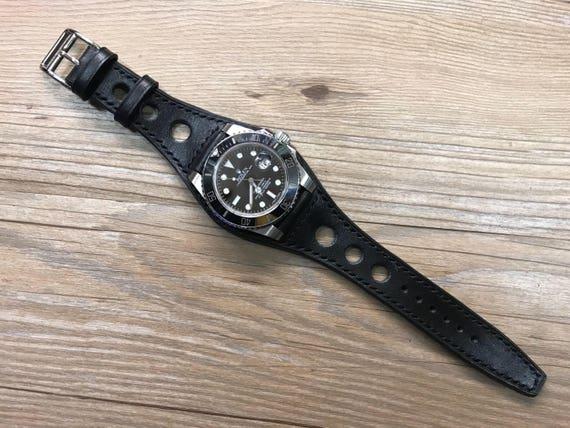 Leather watch band, Black, Full bund strap, Leather Cuff watch Strap 20mm, Racing Watch strap, Rally Watch Band, Cuff leather band
