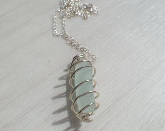Sterling Silver Spiralled Pale Blue Sea Glass Pendant,Genuine Sea Glass, Sterling Silver Necklace, Uk Seller.