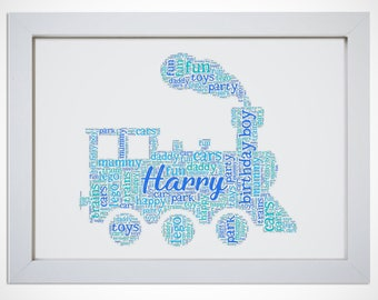 Personalised Train Word Art Cloud Picture Print Boys Gift Son Brother