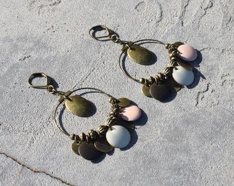 Designer jewelry - Earrings Creole sleepers bronze ancient charms pendants enamel rose cream and Brown
