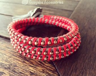 Red Bracelet. Red lace bracelet. Handmade Bracelet.