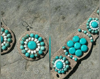 Jewelry sets free shipping turquoise jewelry stone textile jewelry sets stone bracelets stone earrings crochet jewelry cuffed bracelet women