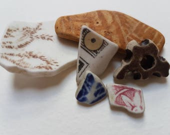 Sea Pottery, Beach Pottery, Patterned Pottery Pieces