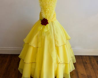 New Belle 2017 inspired Beauty and The Beast Dress with FREE Rose Clip, Age 6 yrs up to 12yrs