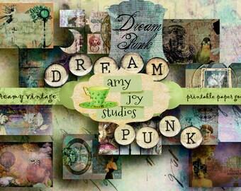 "Steampunk Journal ""DreamPunk""  Vintage   Printable Junk Journal   Digital Journal Kit   Victorian  Mini Album  Ephemera Pack  Grunge"