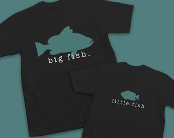 Big Fish Little Fish Father Son Matching Shirts - Father Son Fishing Shirts - Kids Fishing T-Shirts - Father's Day Gift Father's Day Shirts