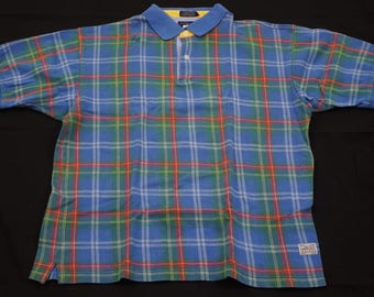 Woods & gray plaid checks short sleeve golf polo shirt mens size large