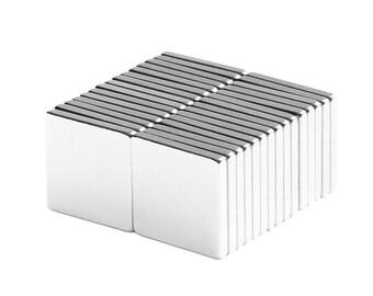 1/2 x 1/2 x 1/16 inch (12.7 x 12.7 x 1.59 mm) Neodymium Rare Earth Block Magnets N48 (30 Pack)