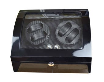 Luxury Watch Winder Automatic black piano paint carbon fiber interior japanese motor gift for men father day