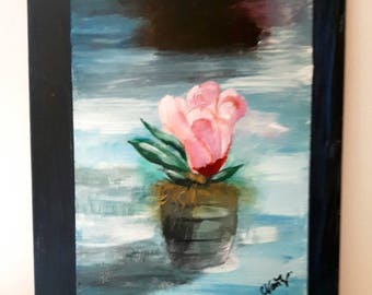 Rose art, Painting of a rose on wood, Oil painting on wood