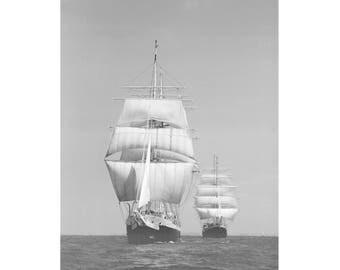 Black and White Ship Print, Vintage Ship Photography, Ocean Art Prints, Black and White Sailing Ship Wall Art