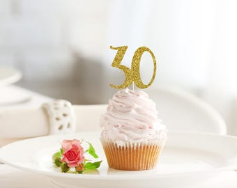 30 HAPPY BIRTHDAY glitter cupcake topper set - 30th cupcakes / cake / food picks / party decoration