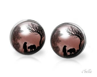 Stud Earrings mystical landscape 15