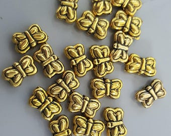 Double Sided Gold Tone Butterfly Beads, 9x6x3.5mm - Select 10, 20 or 50 Beads