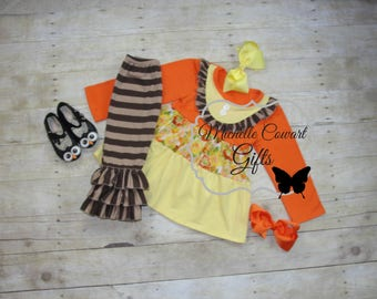 Fall Outfit, Harvest Festival, Boutique Outfit, Ruffle Pants, Brown, Orange, Yellow, Girls, RTS, Toddler, Outfit, Birthday, School, Fall