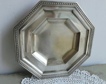 Rare and stylish, French vintage octagonal silver plated dish, with feet.