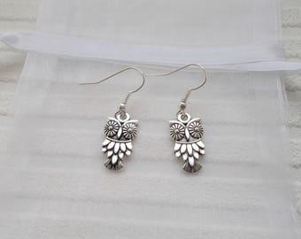 silver owl earrings animal jewellery silver earrings small gift for women silver dangle earrings small earrings silver charm earrings