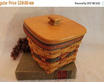Christmas in July Vintage Longaberger Father's Day Striped Basket - Finders Keepers with Plastic Liner and Wood Lid