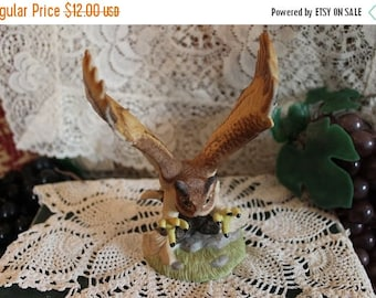 Christmas Sale Great Horned Owl In Flight Figurine - Royal Heritage Collection Bisque Porcelain