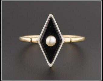 Art Deco Onyx & Enamel Ring | 14k Gold Onyx and Pearl Ring | Vintage Onyx Ring | Vintage Ring | 14k Gold Ring