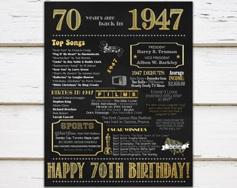 Printable 70th Birthday Chalkboard Sign, Back in 1947, Birthday Gift, Birthday Poster, 1947 Poster, Digital, Download, Sign, MB206