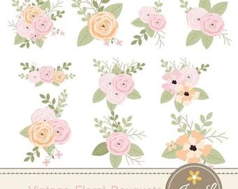 50% OFF Floral Flower Clipart, Vintage Wedding Flowers bouquet, Antique  Ranunculus clipart for digital Scrapbooking, Wedding, Birthday Invi