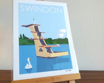 SWINDON A4 Art Poster Print