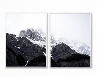 Set of 2 Black And White Mountain Prints, Mountain Wall Art, Mountain Photography, Landscape Mountain Art, Large Mountain Poster, Nature Art