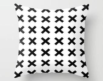 Monochrome  x cushion cover- Black & white throw pillow cover - modern nursery decor