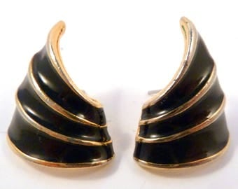 Vintage 80's Earrings, Black And Gold, Enamel Earrings,  Curved Earrings.
