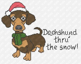 Dachshund Thru' The Snow - Dog Christmas Pattern -  Counted Cross Stitch PDF Pattern - Instant Download