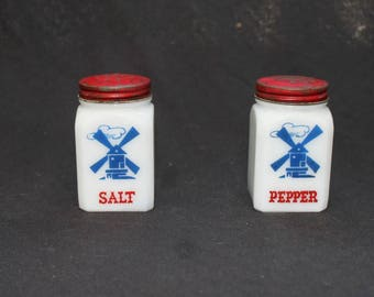 Vintage Milk Glass Salt and Pepper Shakers with Windmill Design