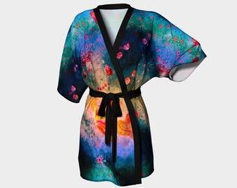 Her Heart Shines/Kimono Robe Unisex Robes Bath Womens Clothing Leisure Ladies Wrap Colorful Men's Kimono printed Bathrobe Beach Coverup Her