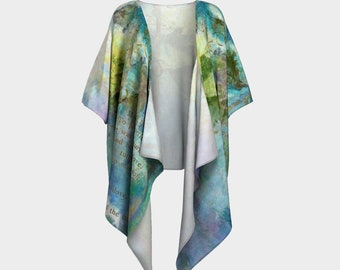 Turtle Doves Draped Kimono Robe Teal Turquoise Blue Green Open Wrap Loose top Womens Long Top Summer clothes Printed Robe Nursing Mom Love